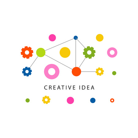 Creative idea template with colorful gears and other details. Educational business label. Abstract concept of brainstorm mechanism.