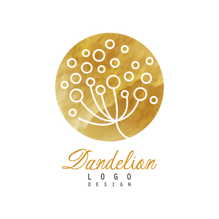 Original dandelion in circular shape. Luxury golden icon. Abstract plant. Vector design for natural product label, herbal shop or spa center
