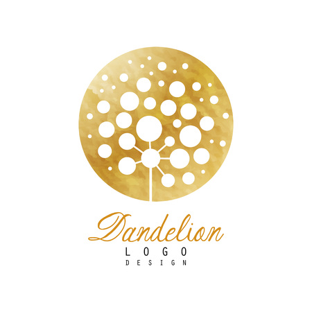 Rounded design of dandelion plant. Abstract flower. Luxury golden emblem. Original vector element for spa center, yoga studio or organic cosmetics