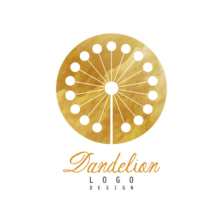 Abstract icon design with dandelion on golden rounded texture. Luxury flower original vector illustration isolated on white background. Decorative element for banner, flyer or poster of beauty salon. Illustration