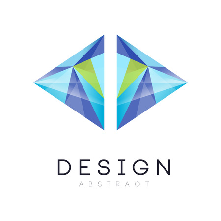 Original vector in modern style. Geometric emblem in gradient blue and green colors. Vector design for business company, web site or mobile app