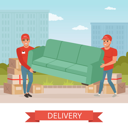 Strong guys carrying sofa. Cartoon couriers characters. Express delivery. Relocation and moving service. Transportation company. Colorful city landscape.