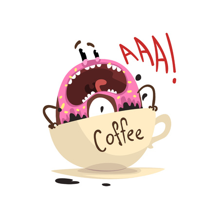 Frightened donuts drowning in cup of coffee. Cartoon character of doughnut with vanilla glaze and sprinkles. Flat vector design for cafe poster, print or sticker Ilustracja