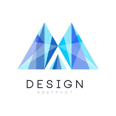 Creative crystal logo template. Abstract emblem in gradient blue color.
