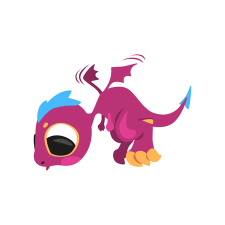 Cute baby dragon in flying action. Mythical purple monster with big eyes and little wings. Fantastic cartoon character. Flat vector design for mobile or computer game