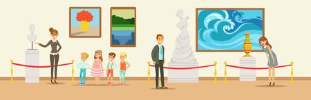 Zwiedzający muzeum oglądający klasyczne dzieła sztuki, przewodnik muzealny opowiadający dzieciom o marmurowym popiersiu, osoby oglądające eksponat muzealny Ilustracje wektorowe