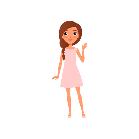 Beautiful young girl with brown hair wearing little pink dress and sandals. Cartoon teenager character standing and waving by hand. Colorful flat vector illustration isolated on white background.
