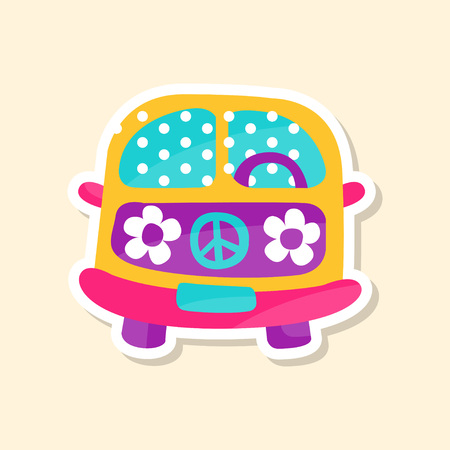 Hippie van from the 60ies in flower style, cute sticker in bright colors, fashion patch vector illustration Illustration