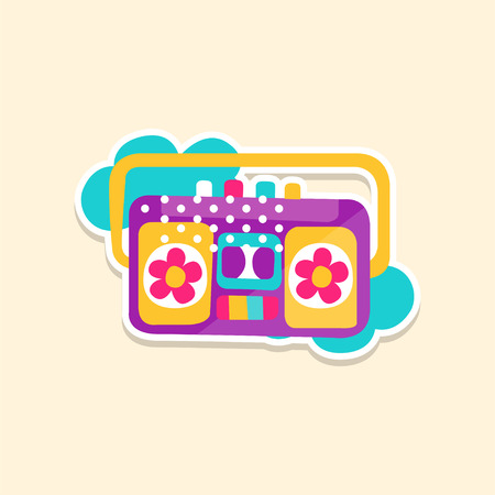 Colorful boom box or radio cassette tape player, cute sticker in bright colors, fashion patch vector illustration, cartoon style