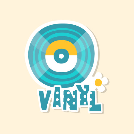 Blue vinyl record, cute sticker in bright colors, fashion patch vector illustration, cartoon style
