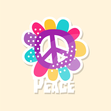 Colorful peace sign, cute sticker in bright colors, fashion patch vector illustration, badge in cartoon style
