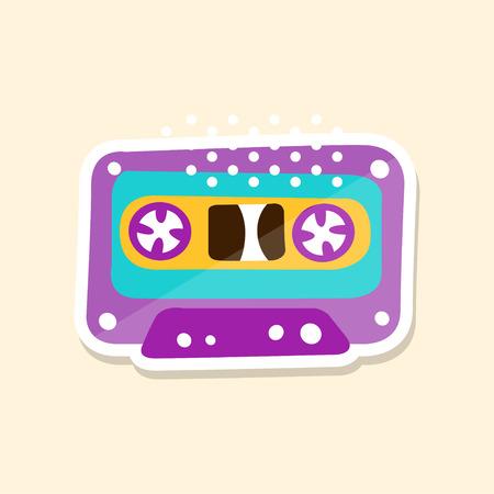 카세트 테이프, 밝은 색, 귀여운 스티커 귀여운 스티커 벡터 그림, 만화 스타일의 배지