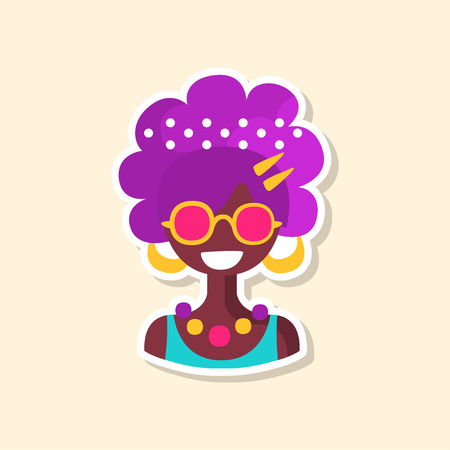 Cute colorful hippie woman, sticker in bright colors, fashion patch vector illustration, badge in cartoon style