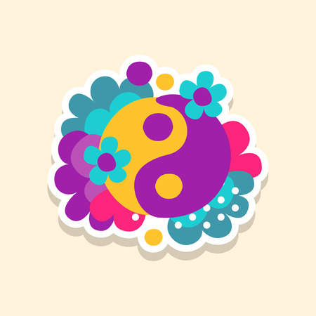 Hippie yin and yang symbol with flowers, cute sticker in bright colors, fashion patch vector illustration, cartoon style Çizim
