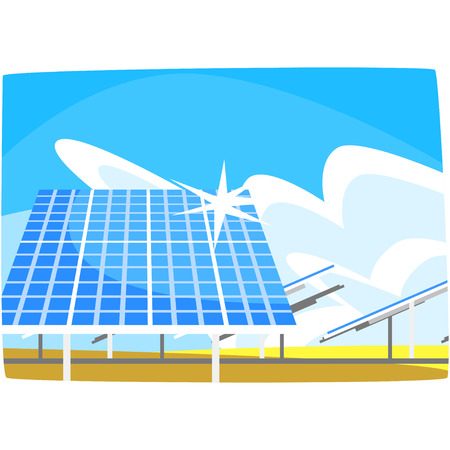 Solar panel, production of energy from the sun, ecological energy producing station, renewable resources horizontal vector illustration on a white background Çizim