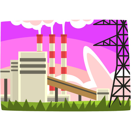 Electricity generation plant, fuel power station horizontal vector illustration on a white background