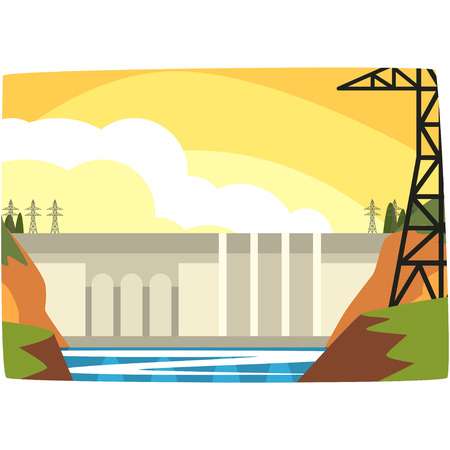 Hydroelectric power plant, hydro energy industrial concept, renewable resources horizontal vector illustration on a white background