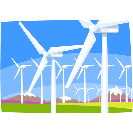 Wind power station, ecological energy producing station, renewable resources horizontal vector illustration on a white background Illustration