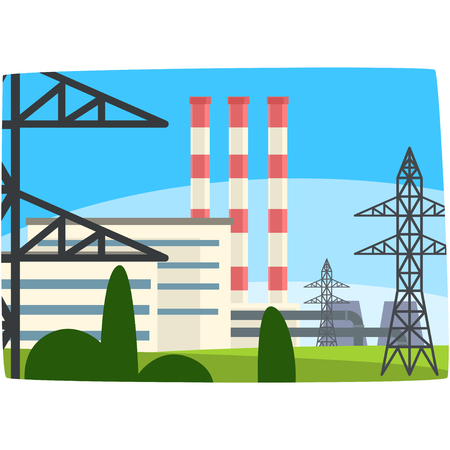 Traditional energy generation power station, fuel power plant horizontal vector illustration on a white background Ilustração