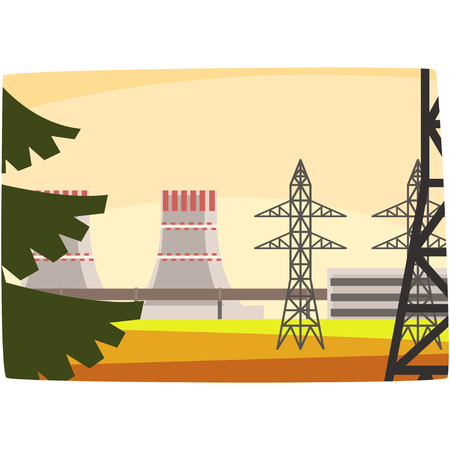 Energy generation power station, powerful nuclear reactor horizontal vector illustration on a white background.