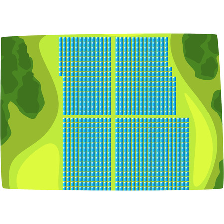 Solar panels, view from above, production of energy from the sun, ecological energy producing station horizontal vector illustration on a white background.