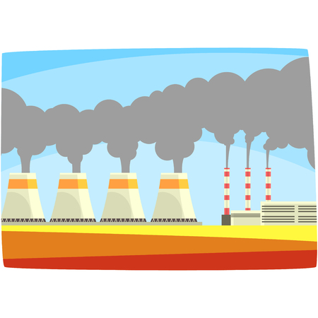 Energy generation power station, thermal or nulear power plant, horizontal vector illustration on a white background