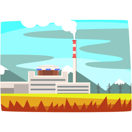 Fuel power station, electricity generation plant horizontal vector illustration on a white background