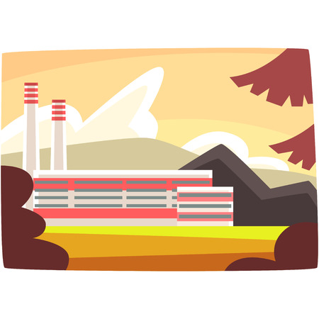 Fossil fuel plant, energy producing power station horizontal vector illustration on a white background.