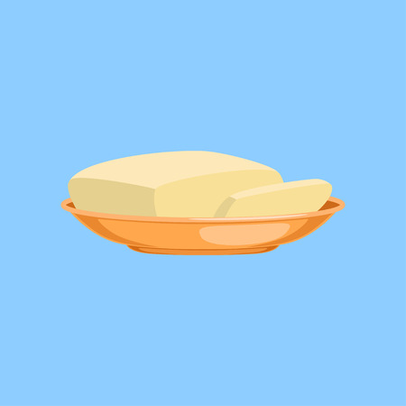 Piece of butter on a plate, fresh and healthy dairy product vector illustration on a light blue background Vettoriali