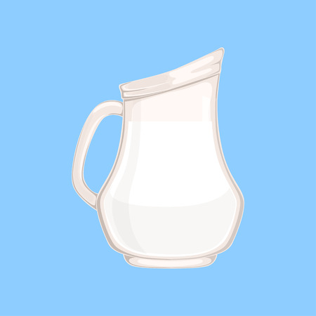 Glass jug or pitcher of milk, fresh, healthy dairy product vector illustration Illustration