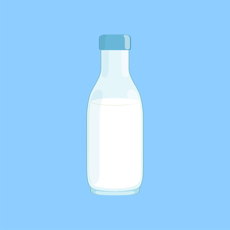 Filled bottle with milk, fresh and healthy dairy product vector illustration