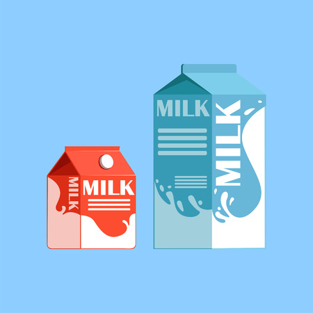 Carton boxes of milk, fresh and healthy dairy product vector illustration on a light blue background Reklamní fotografie - 94353915