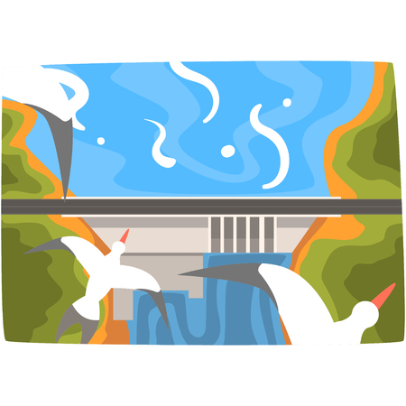 Hydro energy industrial concept, renewable resources horizontal vector illustration