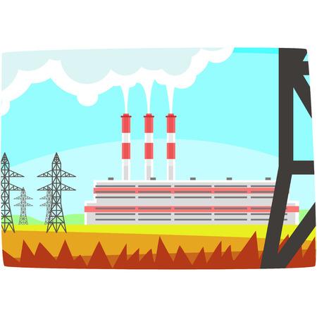 Energy producing station, electricity generation plant horizontal vector illustration on a white background Illustration