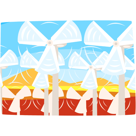 Wind turbines power station, ecological energy producing station, renewable resources horizontal vector illustration Illustration