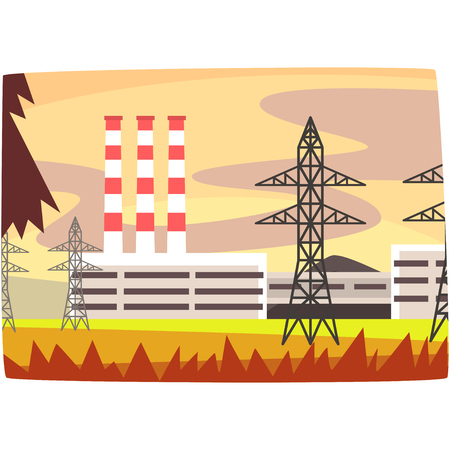 fuel power station, energy producing plant horizontal vector illustration on a white background Ilustrace