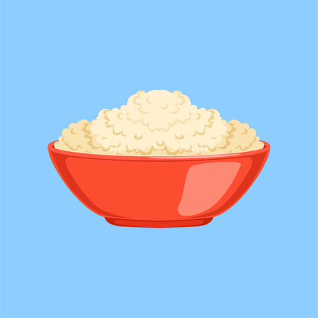 Cottage cheese in a bowl , fresh and healthy dairy product vector illustration on a light blue background