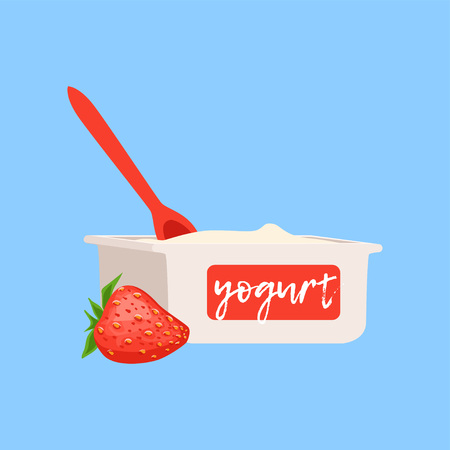 Strawberry yogurt, fresh and healthy dairy product vector illustration