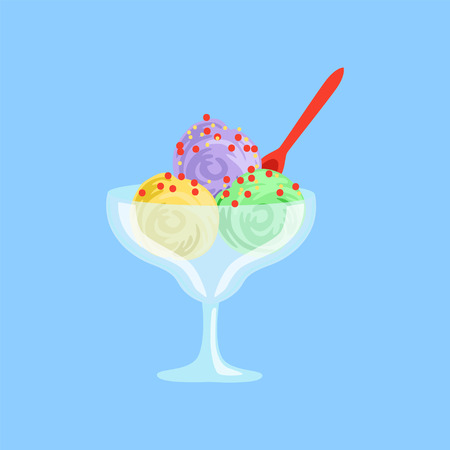 Mixed ice cream in a glass bowl vector illustration