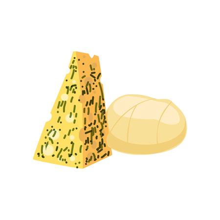 チーズの断片、新鮮で健康的な乳製品のベクトルイラスト 写真素材 - 94353956