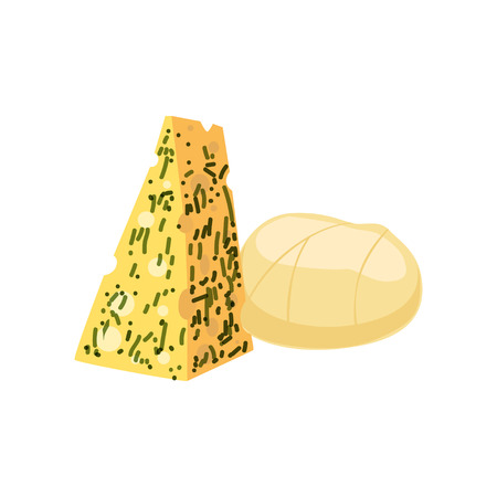 Pieces of cheese, fresh and healthy dairy product vector illustration