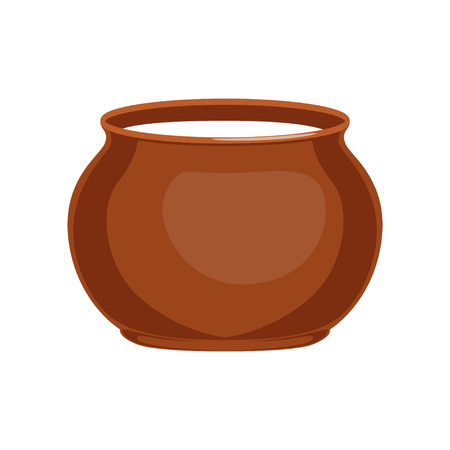Sour cream in clay pot, fresh and healthy dairy product vector illustration Çizim