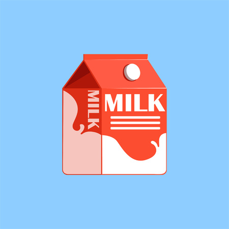 Red carton box of milk, fresh and healthy dairy product vector illustration Illustration