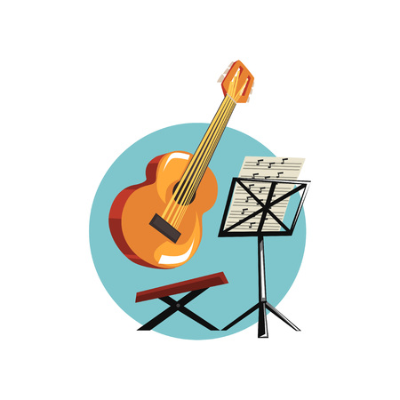 Symbols of the musician profession, acoustic guitar music stand with notes cartoon vector Illustration
