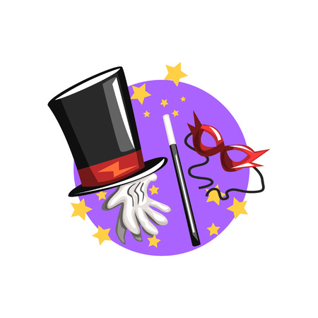 Symbols of the magician profession, black top hat, white gloves, magic wand and mask cartoon vector Illustration