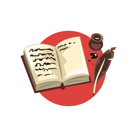 Symbols of the writer profession, vintage quill, ink and book cartoon vector Illustration on a white backgroun