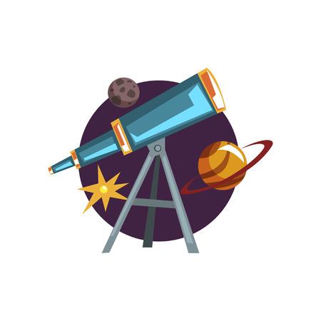 Symboles de l'astronomie, spyglass, télescope, étoiles et planètes vecteur de dessin animé Illustration