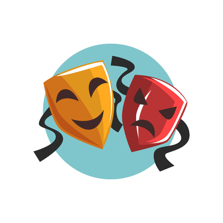 Komedie en tragedie theatrale maskers cartoon vector illustratie