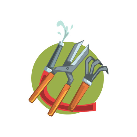 Symbols of the gardener profession, water hose, pruner and rake cartoon vector Illustration