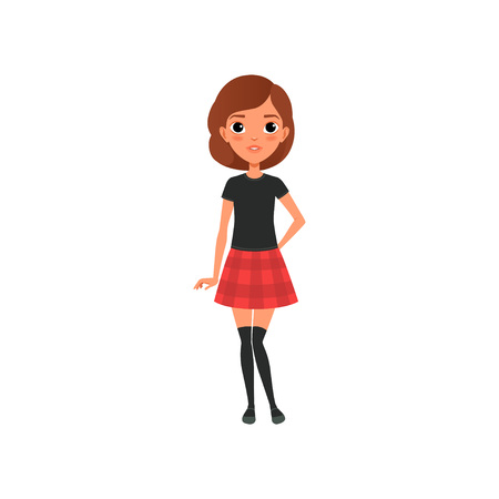 Beautiful brunette girl in stylish outfit black t-shirt, knee socks and red plaid mini skirt. Cartoon teenager character with big shiny eyes. Flat vector design Illusztráció